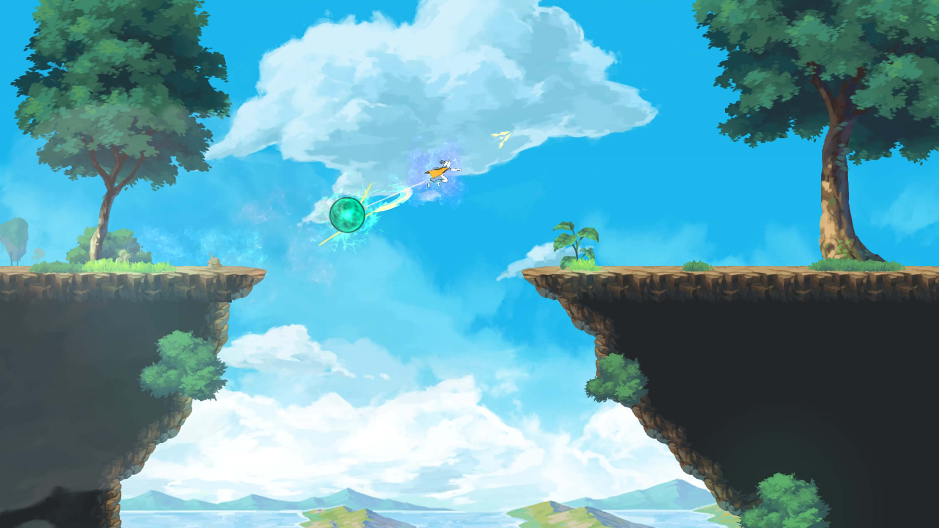 A character leaps over a chasm in the sky