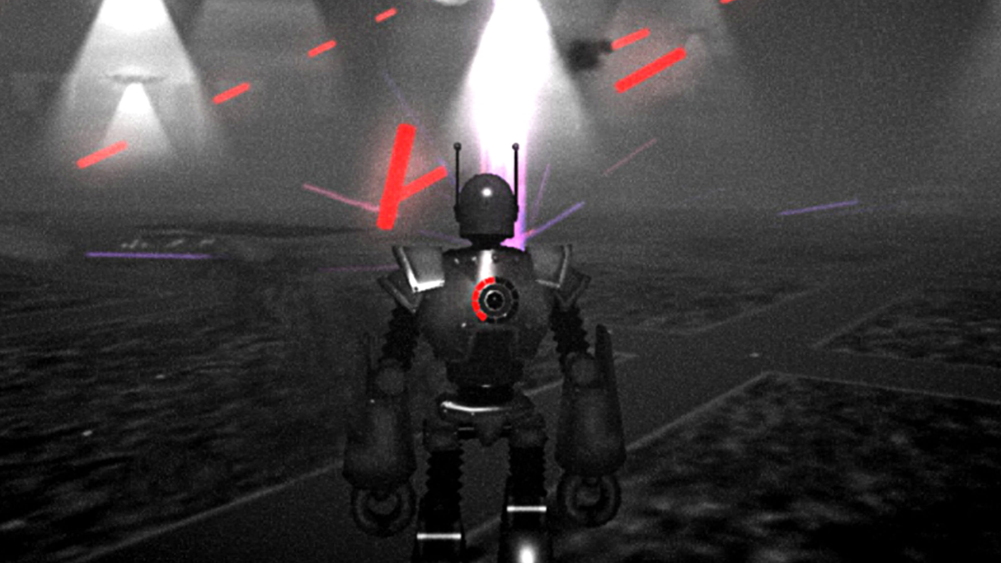 The backside of a large robot, red lazer beams firing in the distance.