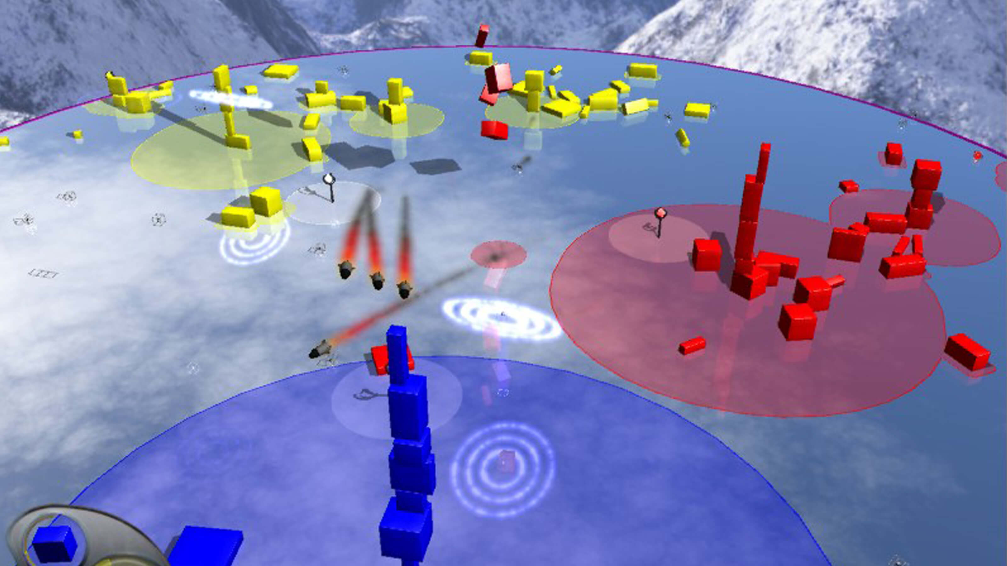Missiles fly towards a blue stack of shapes as a red and yellow stack grows in the distance.