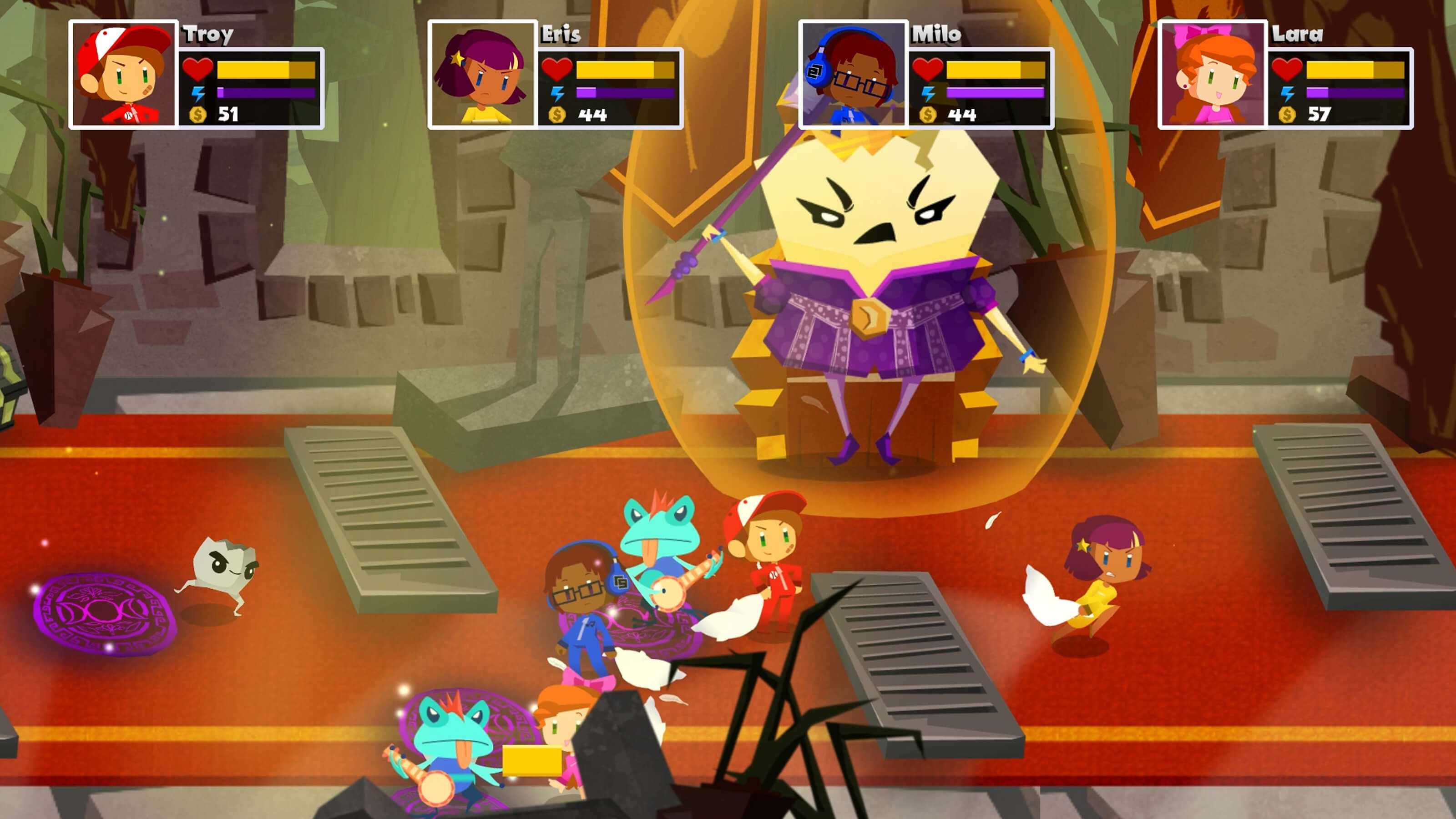 The four main characters battle with banjo wielding frogs and an evil egg shell.