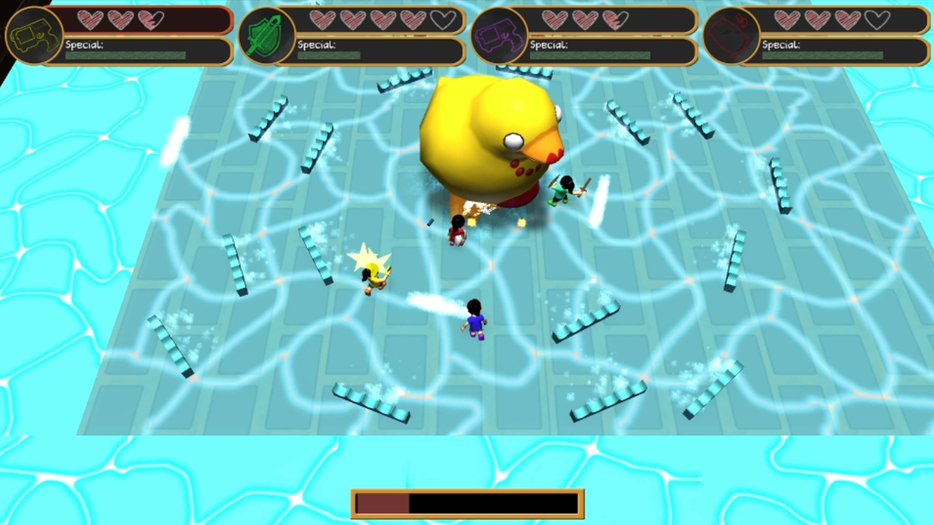 Four young girls attack a giant rubber duck in a pool of water.