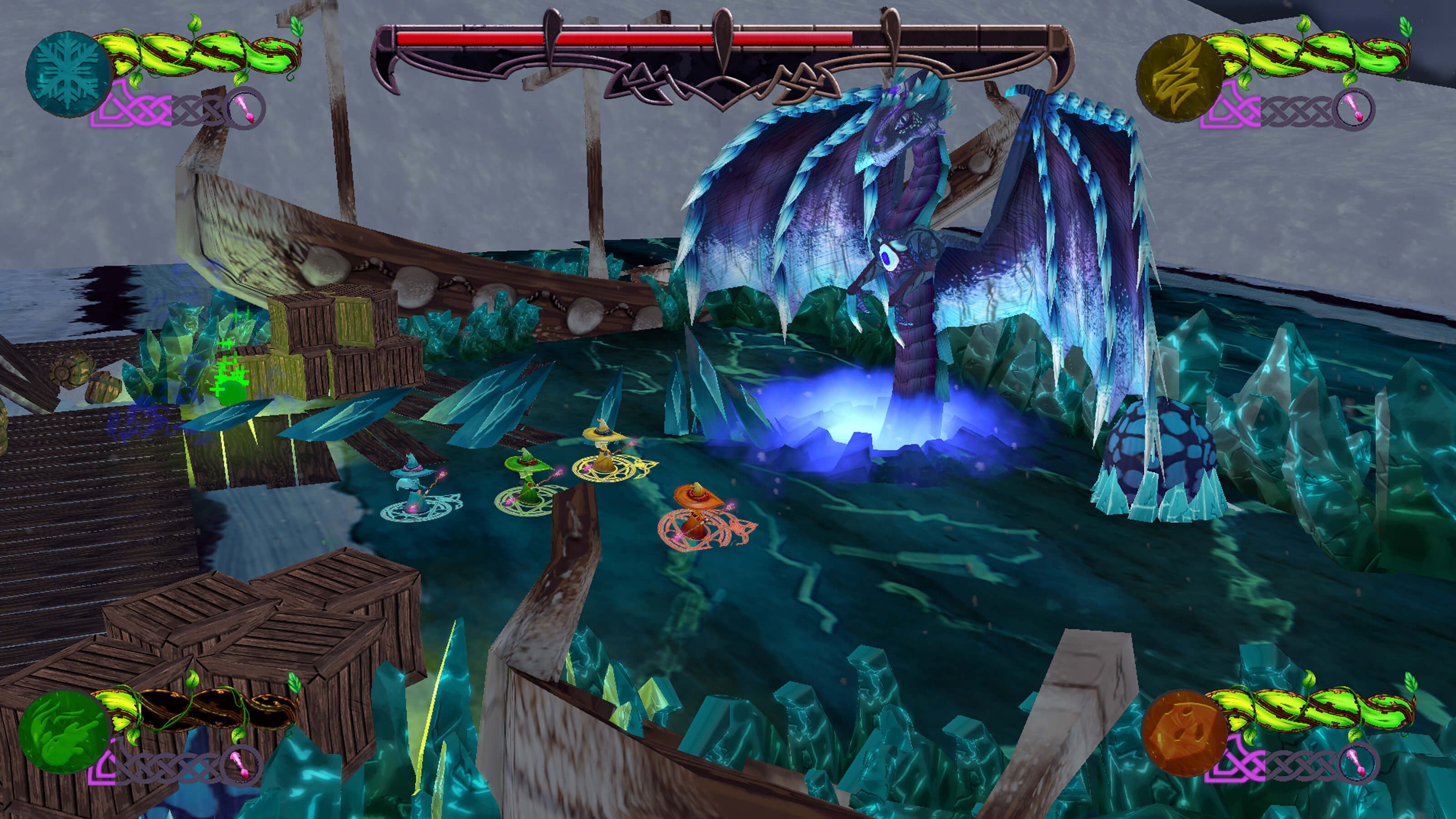 A blue, green, yellow, and orange wizard face off against a frosty purple dragon.