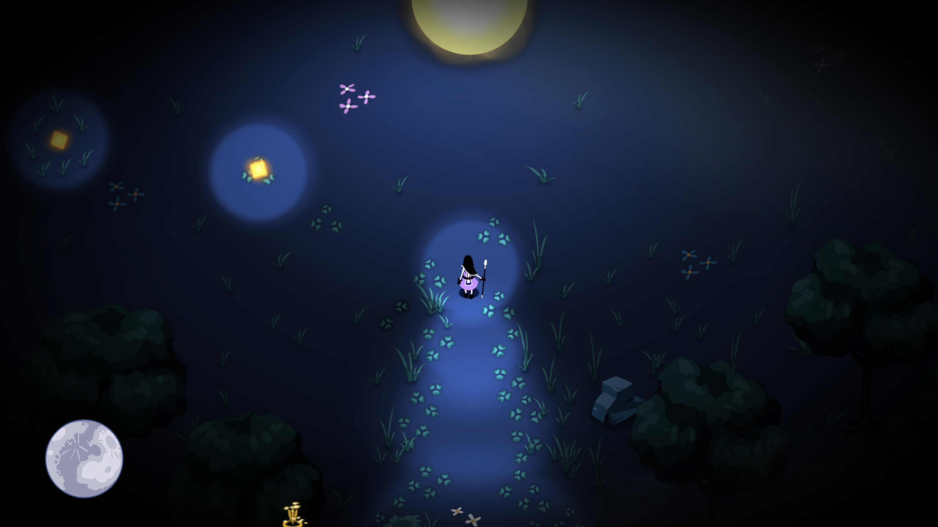 A mage stands in a small sunlit patch in a dark forest.
