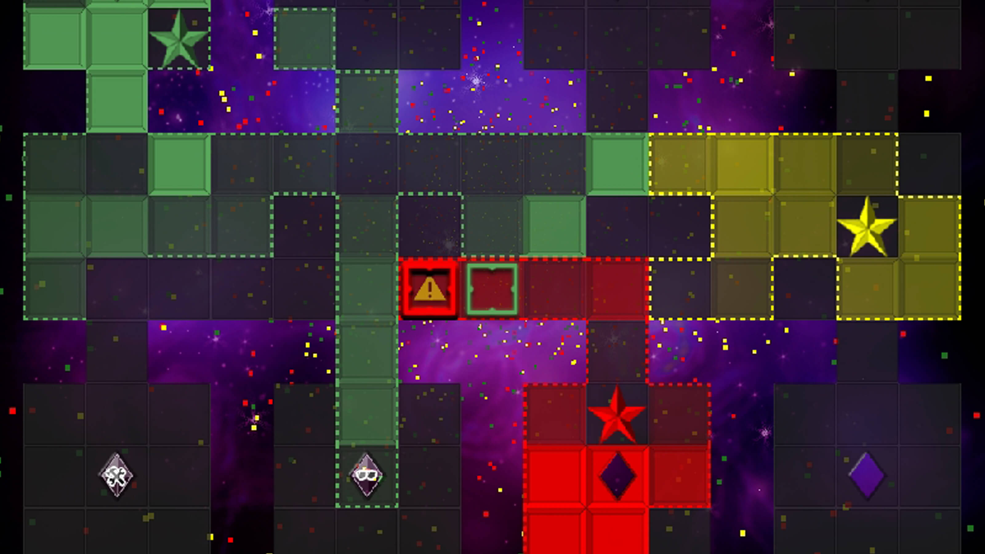 Yellow squares and red squares compete for grid space.
