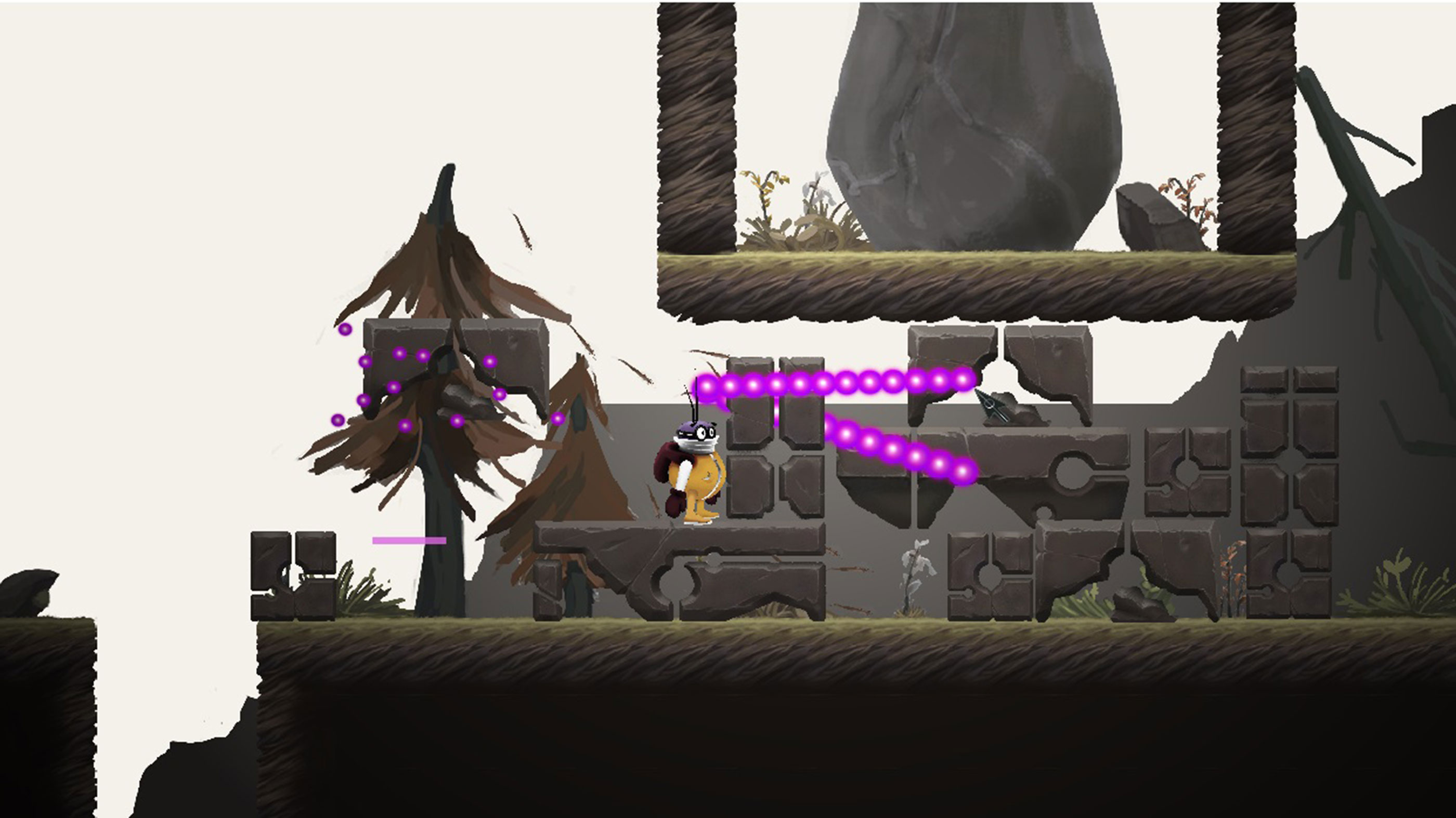 Pilot character surrounded by trees, rocks, and alien ruins