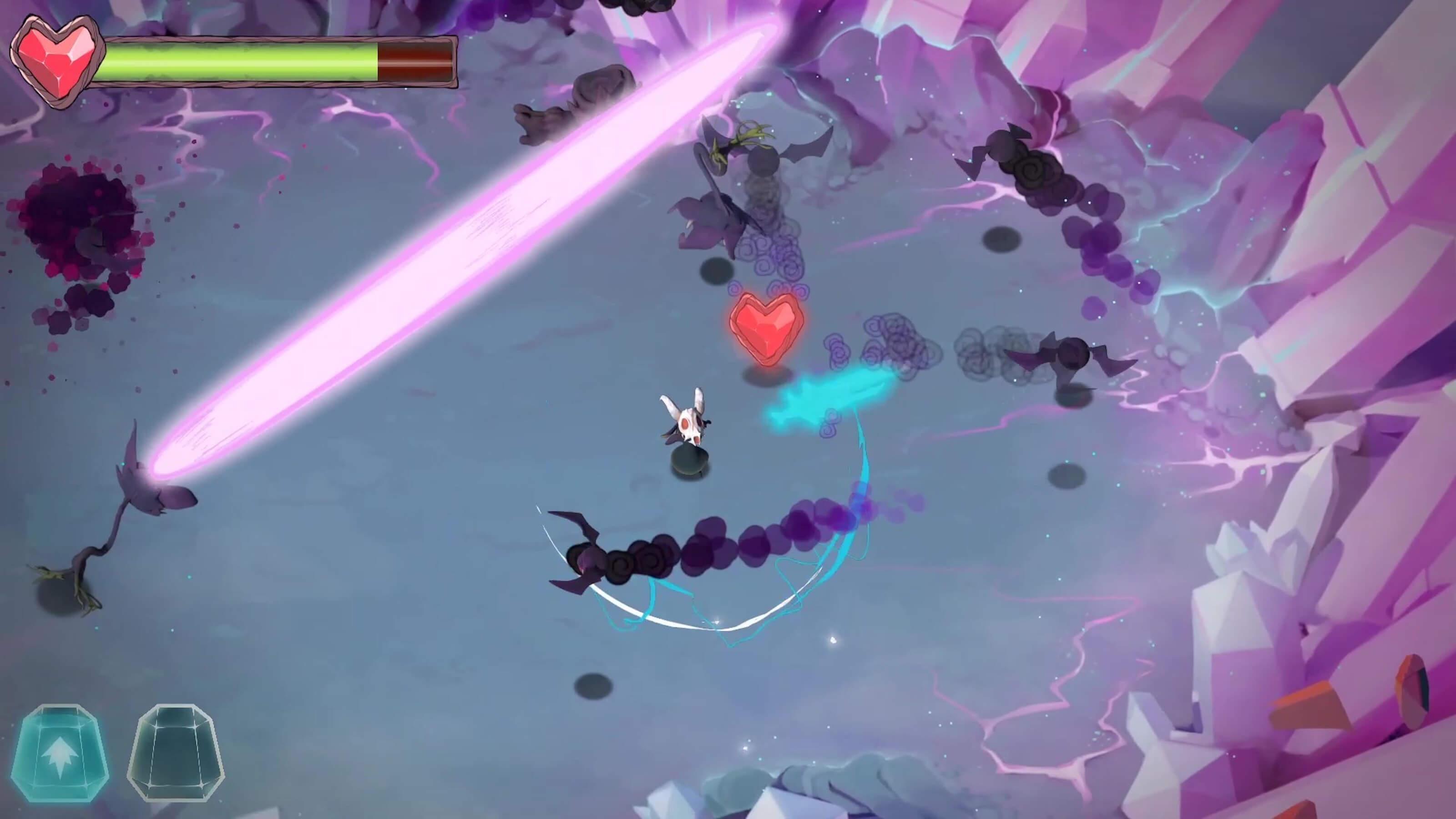 Skull creature battles multiple spirit enemies