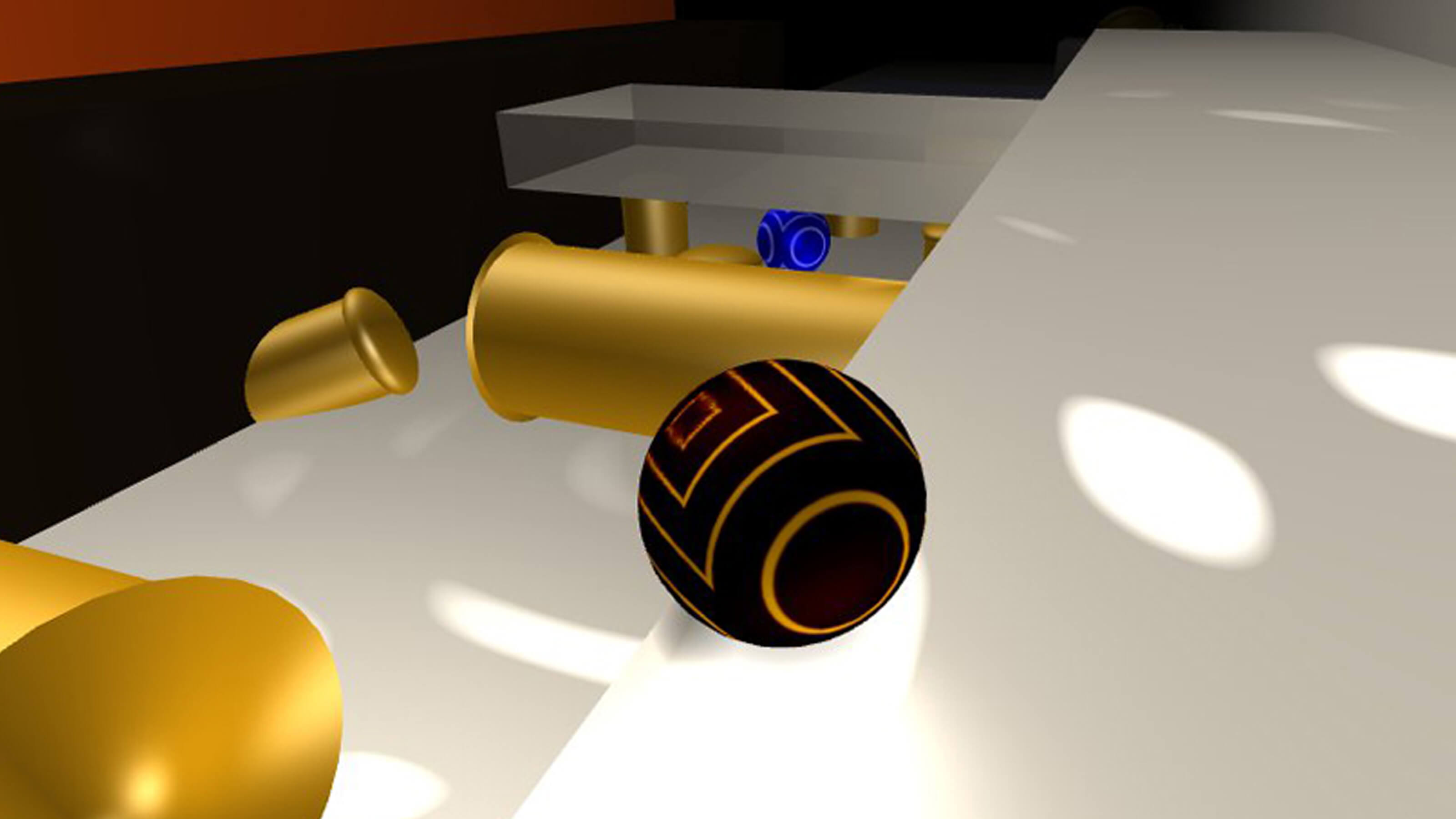 A black ball sits on a white plane with gold tubes below it and a blue ball in the distance.