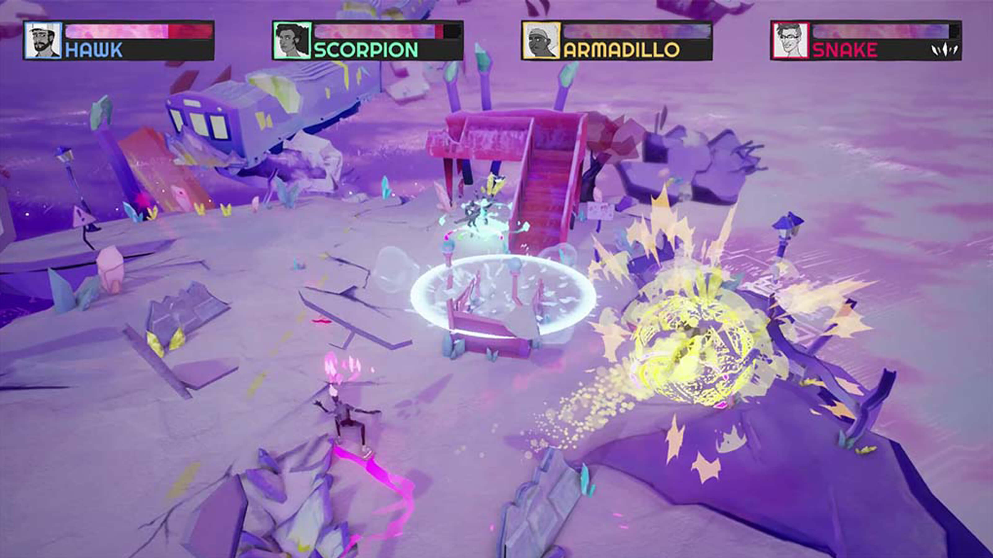 Four players battle on a craggy purple stage, yellow and turquoise explosions in the distance.