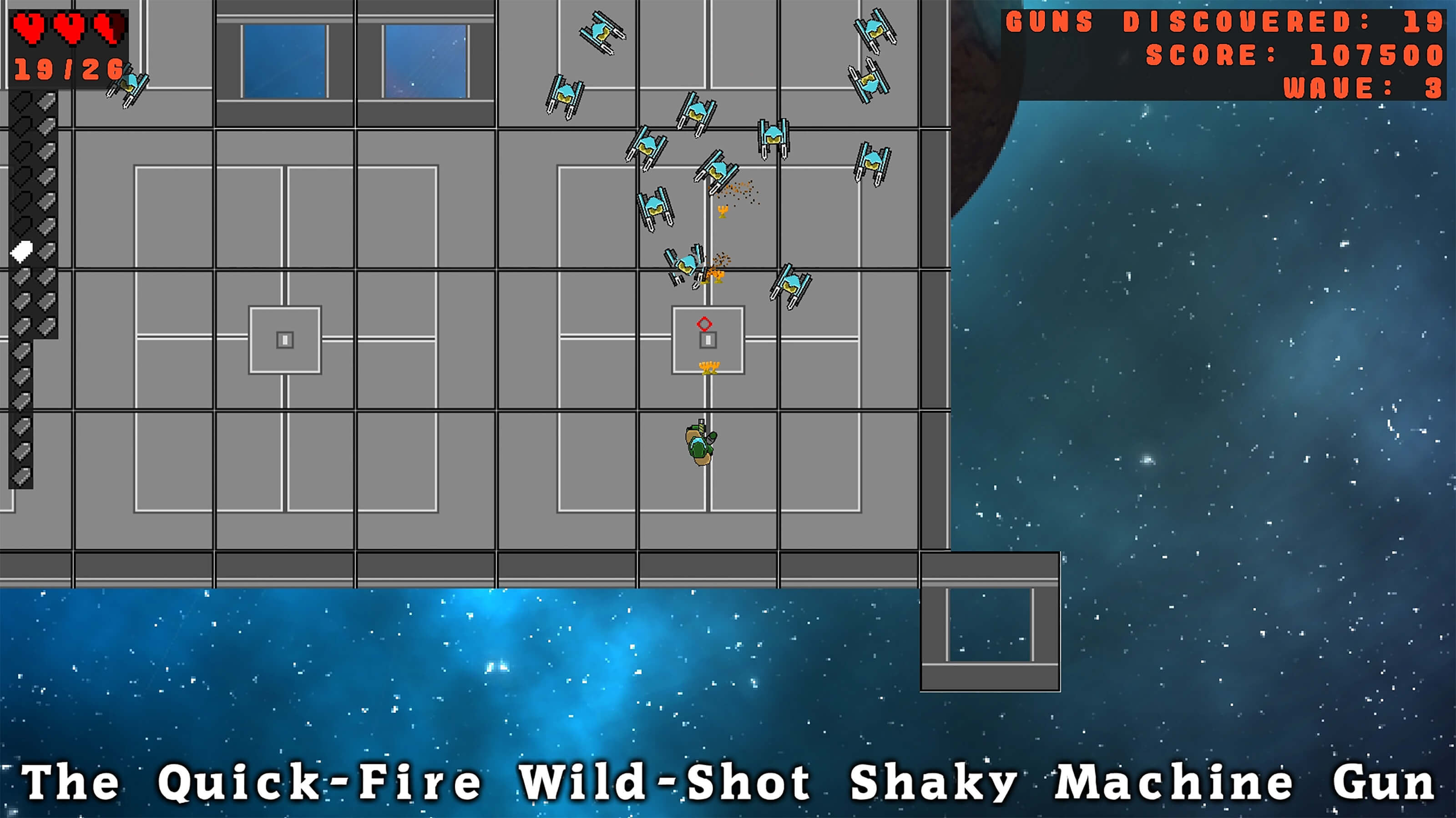 """A wave of robots attacks the player, who is wielding """"The Quick-Fire Wild-Shot Shaky Machine Gun."""""""