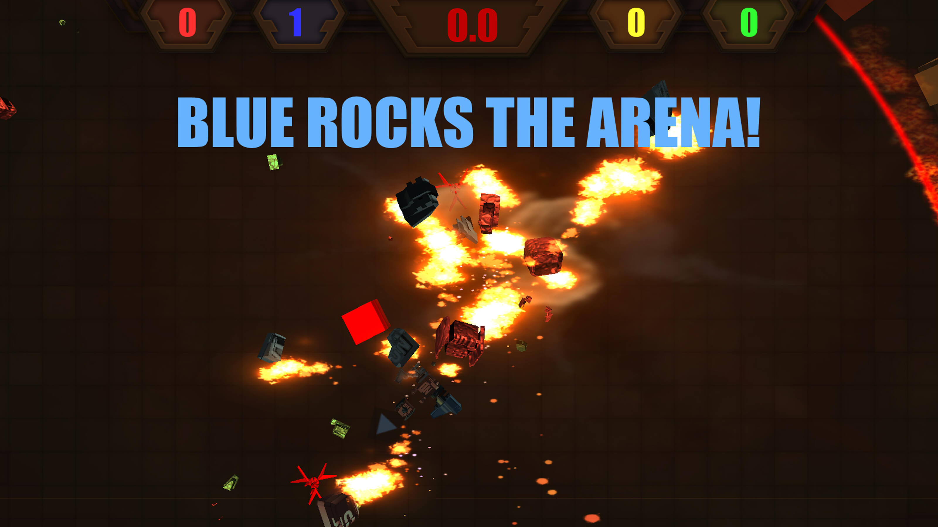 "An explosion of vehicle parts with the message ""BLUE ROCKS THE ARENA"" on the screen."