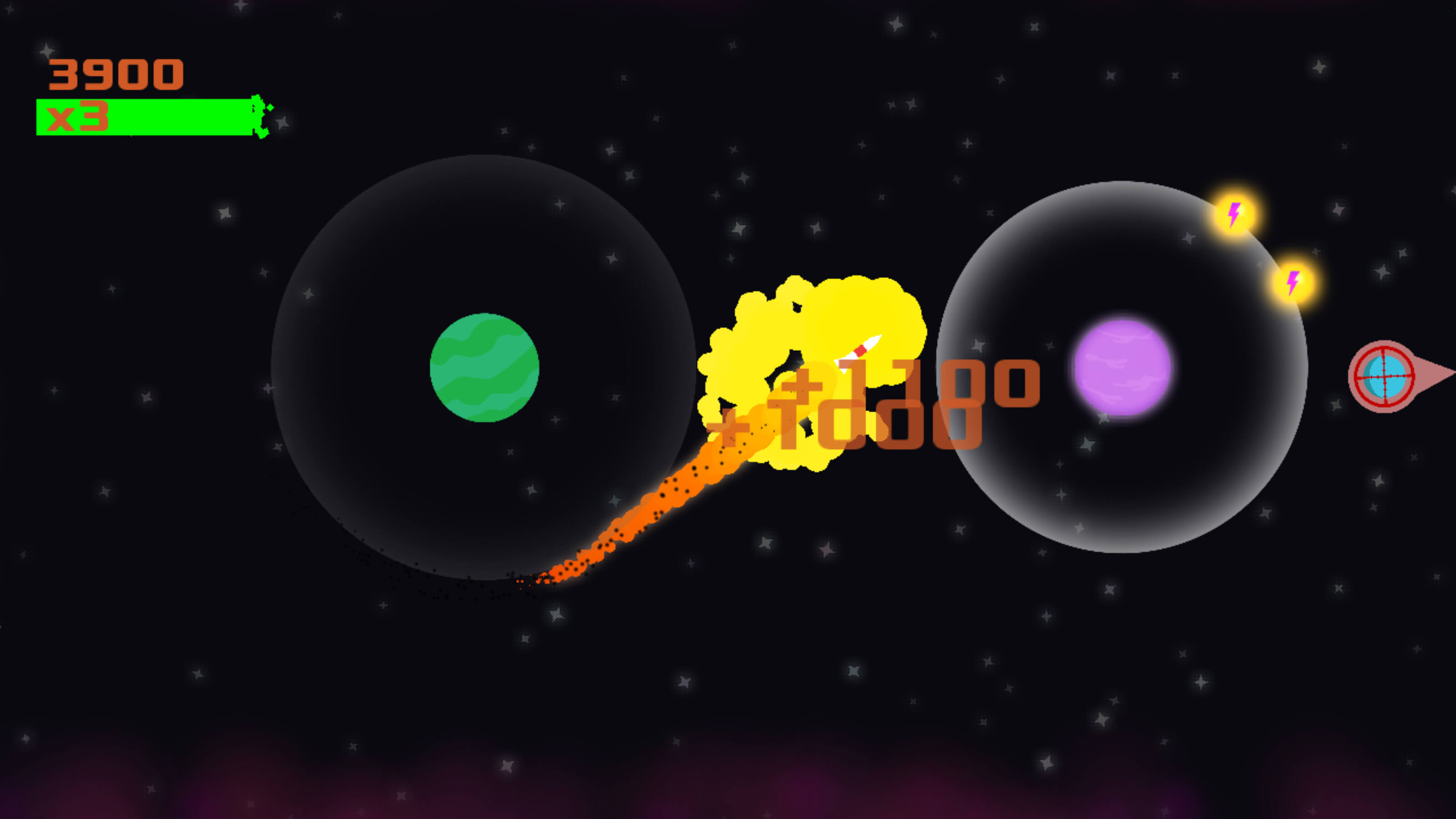 A rocket blasts from a green planet to a pink one, collecting power ups and points in between.