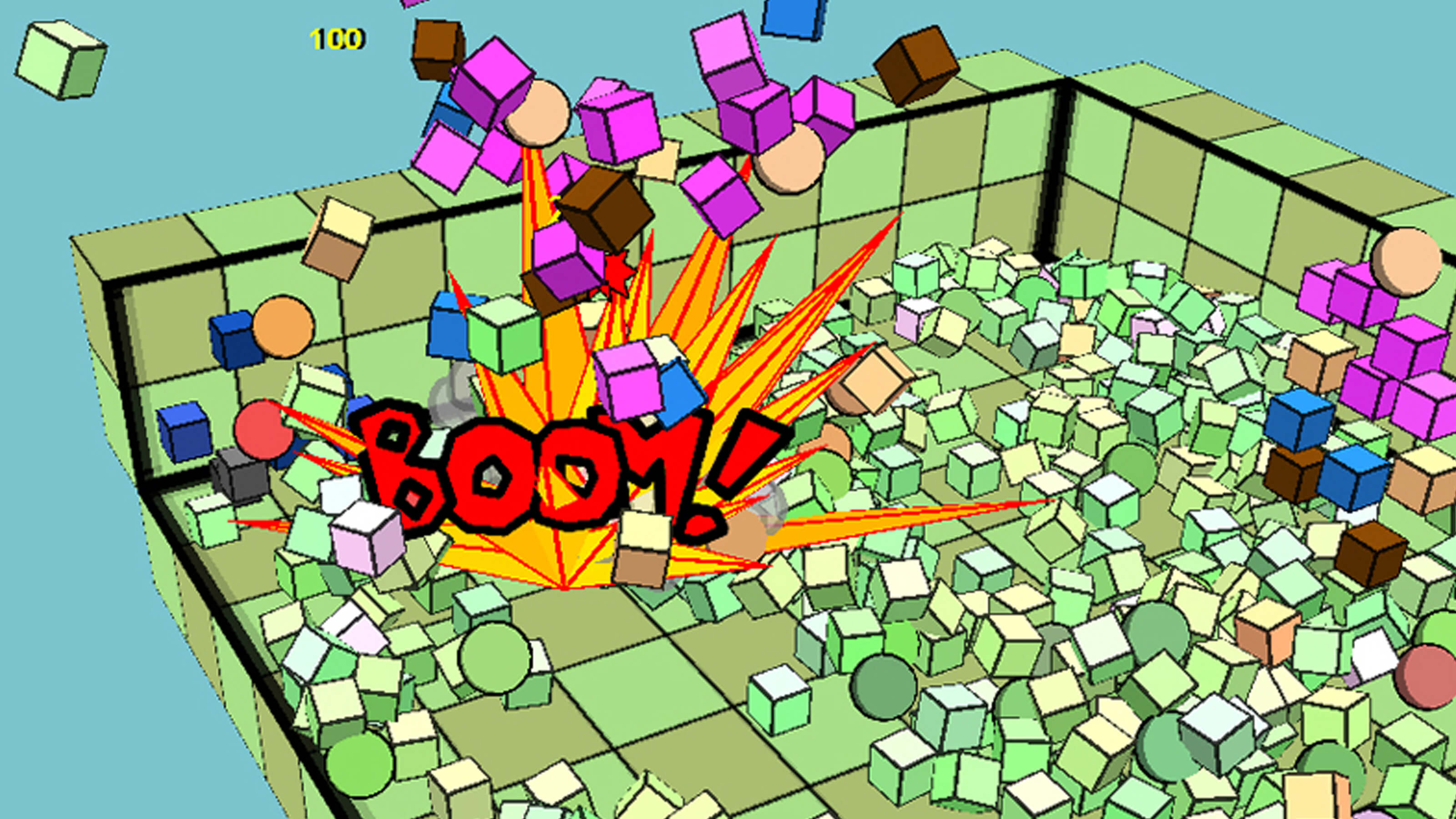 "An enemy explodes into blocks with the word ""BOOM!"""