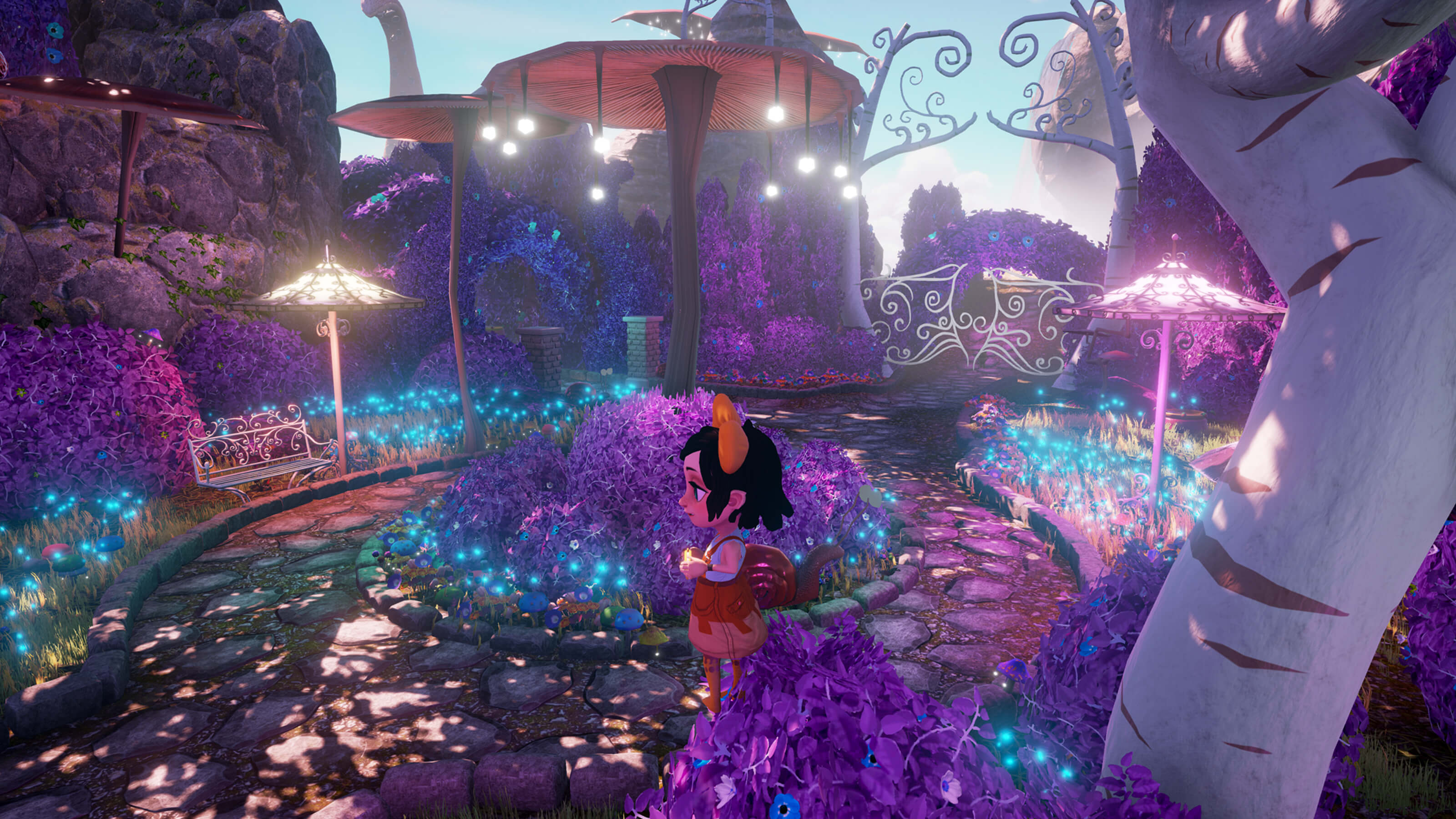 Melanie stands on a circular path full of purple foliage and glowing mushrooms. A snail crawls behind her.