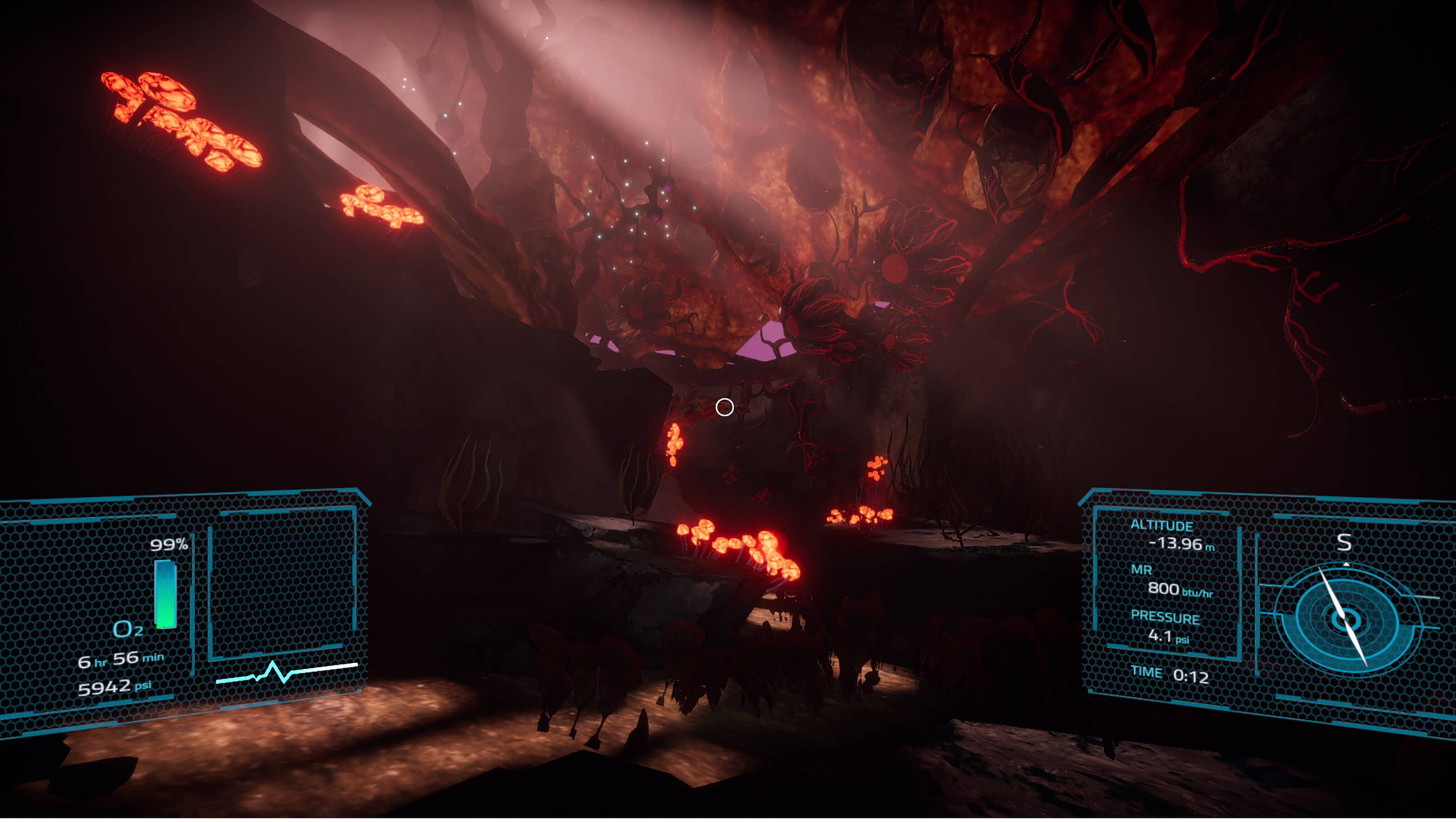 A glowing alien landscape full of strange mushrooms, trees, and foliage with the player's HUD layer on top.
