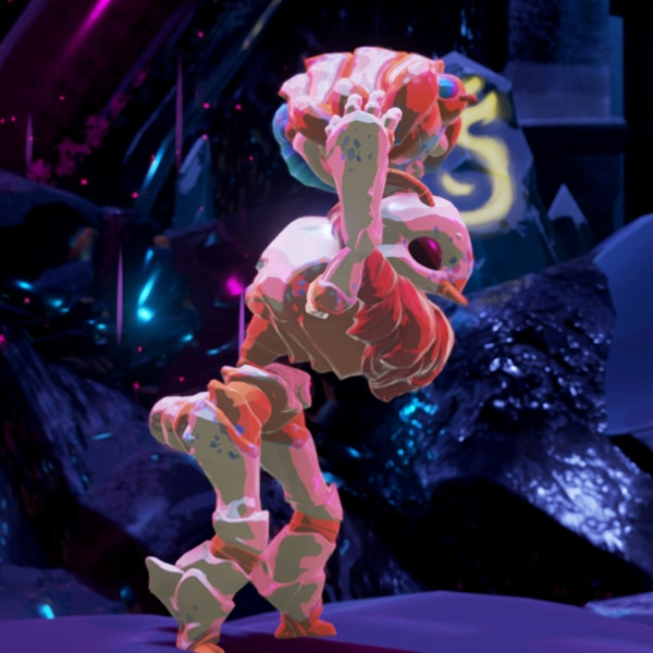 The game's white, ant-like alien hero holds its mite sidekick above its head.