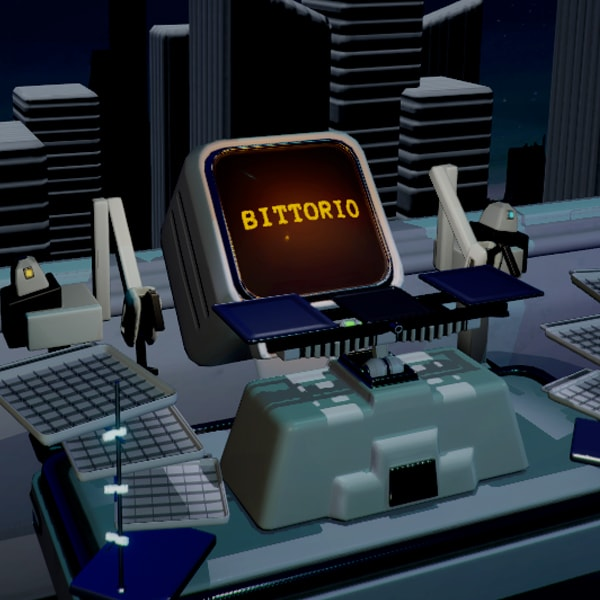 "A computer with the word ""BITTORIO"" on the screen, surrounded by two robot arms and a series of gridded trays."