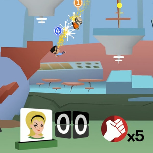 Two workers attack each other mid-air in a futuristic office.