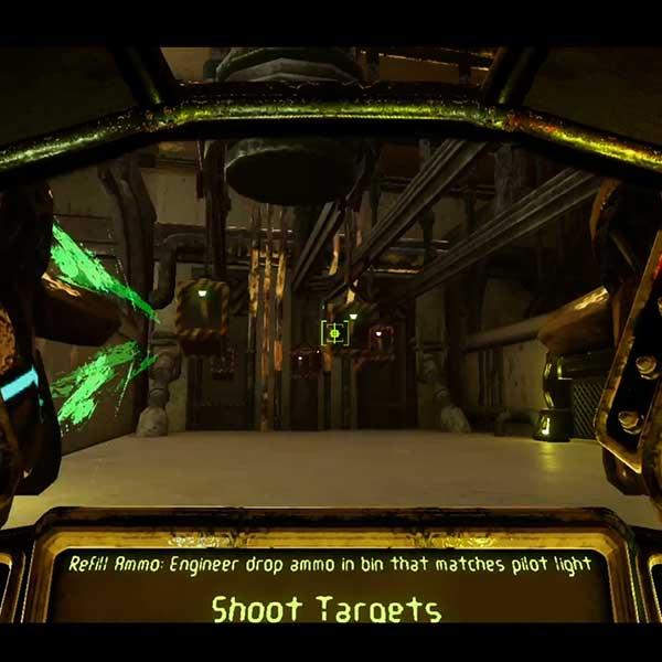 Inside view of mech suit piloting cockpit
