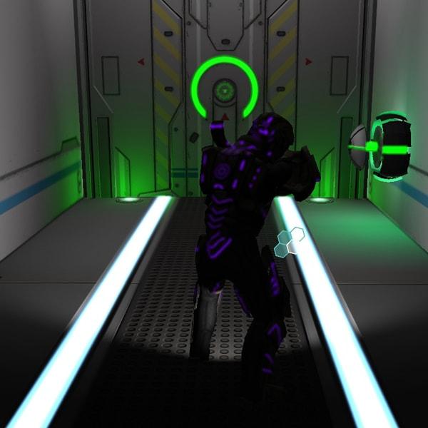 An alien impersonating a human soldier approaches a green blast door.