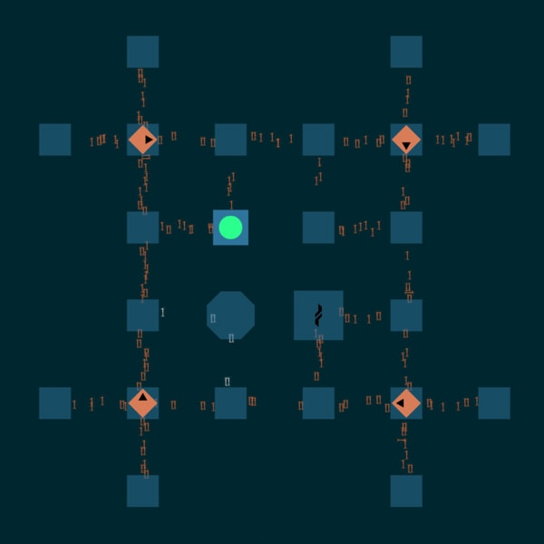 A blue grid of squares with code flowing between them, a green circle and four orange diamonds.