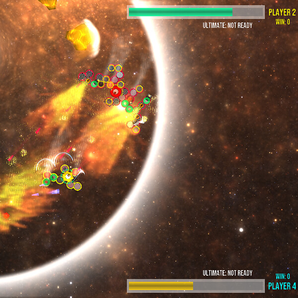 "A group of ""I"" creatures battle each other in space with the giant defense and weapon attachments they've accumulated."