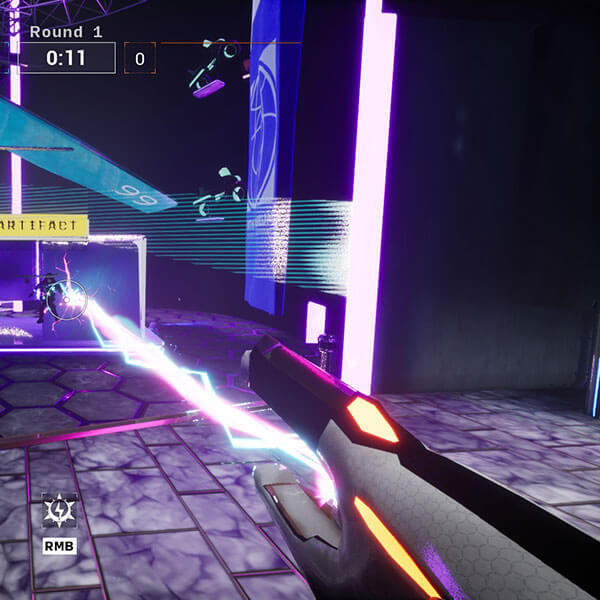 Futuristic weapon shoots lightning at enemy inside building
