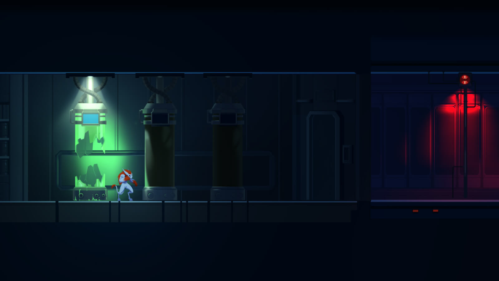 Bipedal creature in a science lab with broken tank