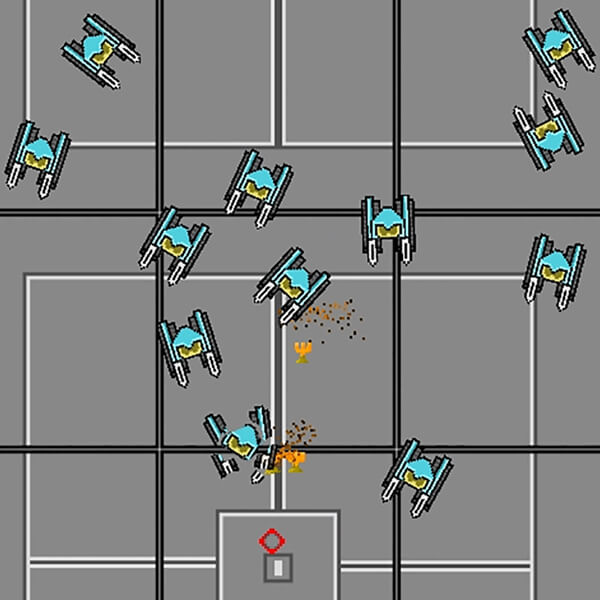 A wave of robots attacks the player.