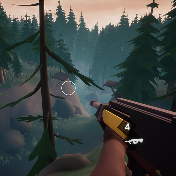 The player holds a shotgun as they look out over a forested ravine.