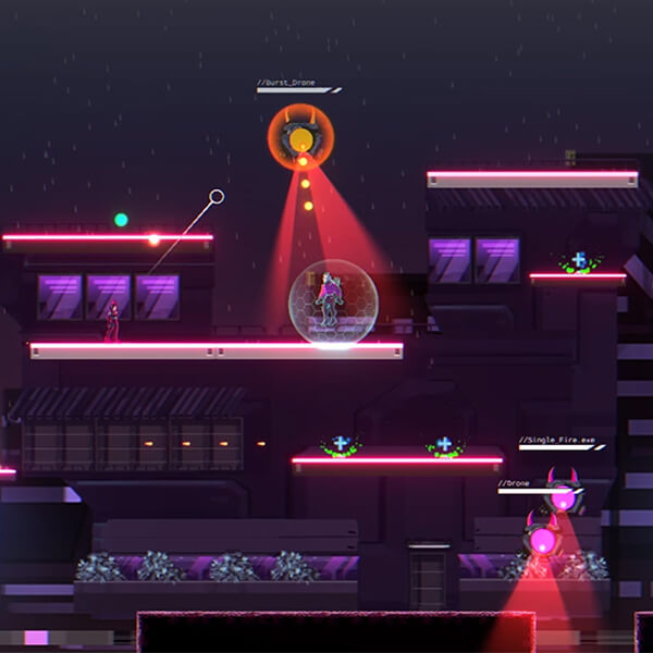 Neon cityscape at night; two characters stand on a platform surrounded by pulse-firing drones.