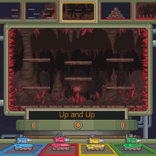 A green, yellow, blue and red tank stand at the level select screen.