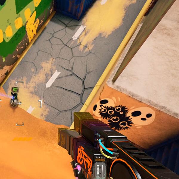 Gun pointed downward at robot