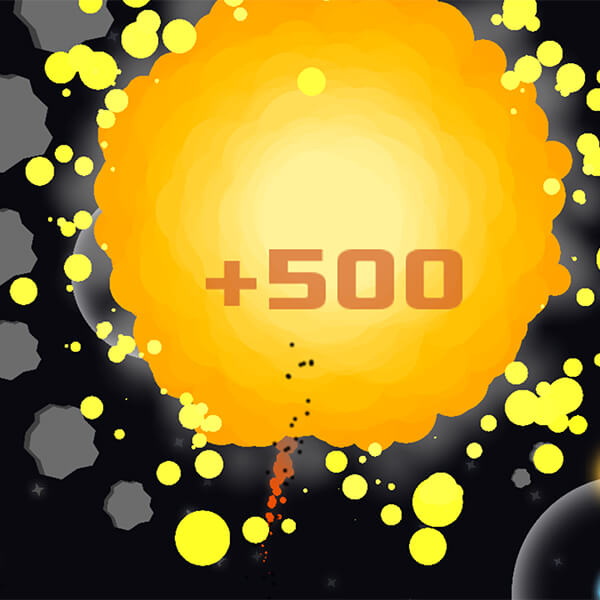 "A giant orange explosion erupts with a ""+500"" point counter."