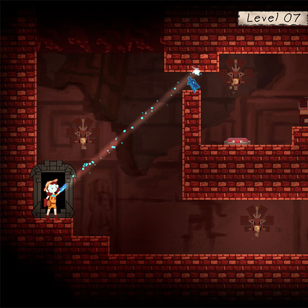 Explorer shoots a projectile to solve a puzzle in a dungeon