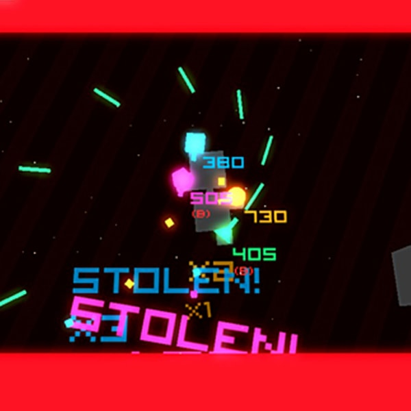 A blocky spaceship shoots beams in a spiral.