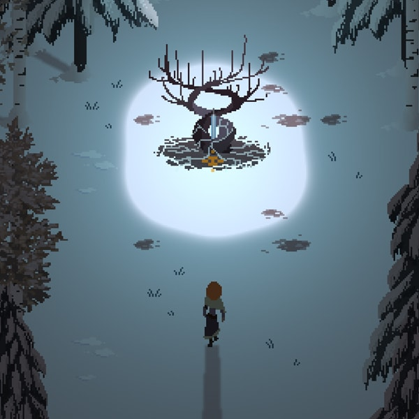 The game's heroine approaches a blade stuck in the base of a twisted, glowing tree, surrounded by darkness.