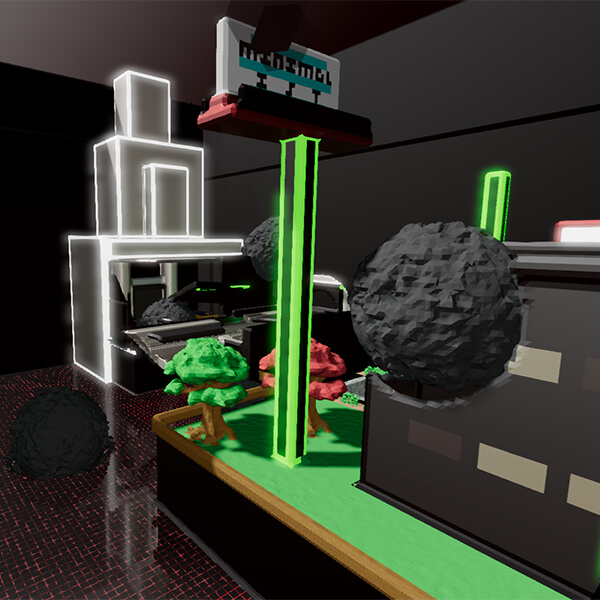 Grey orbs hover in the middle of a diorama in a futuristic room.