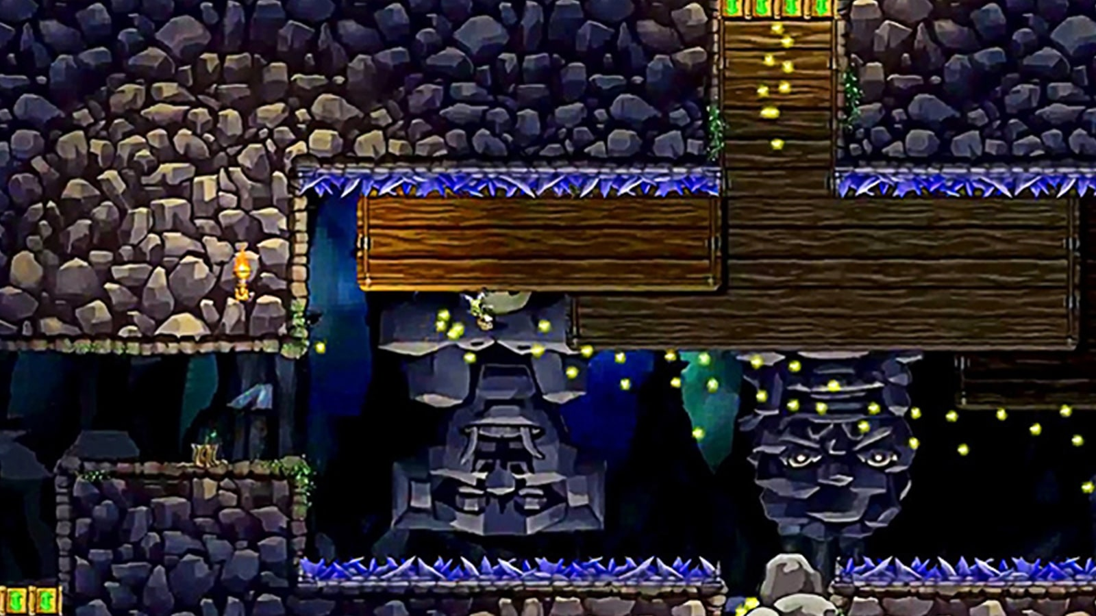 A boy walks inverted on a wooden platform on the ceiling of a large underground cavern covered in spiky purple crystals.