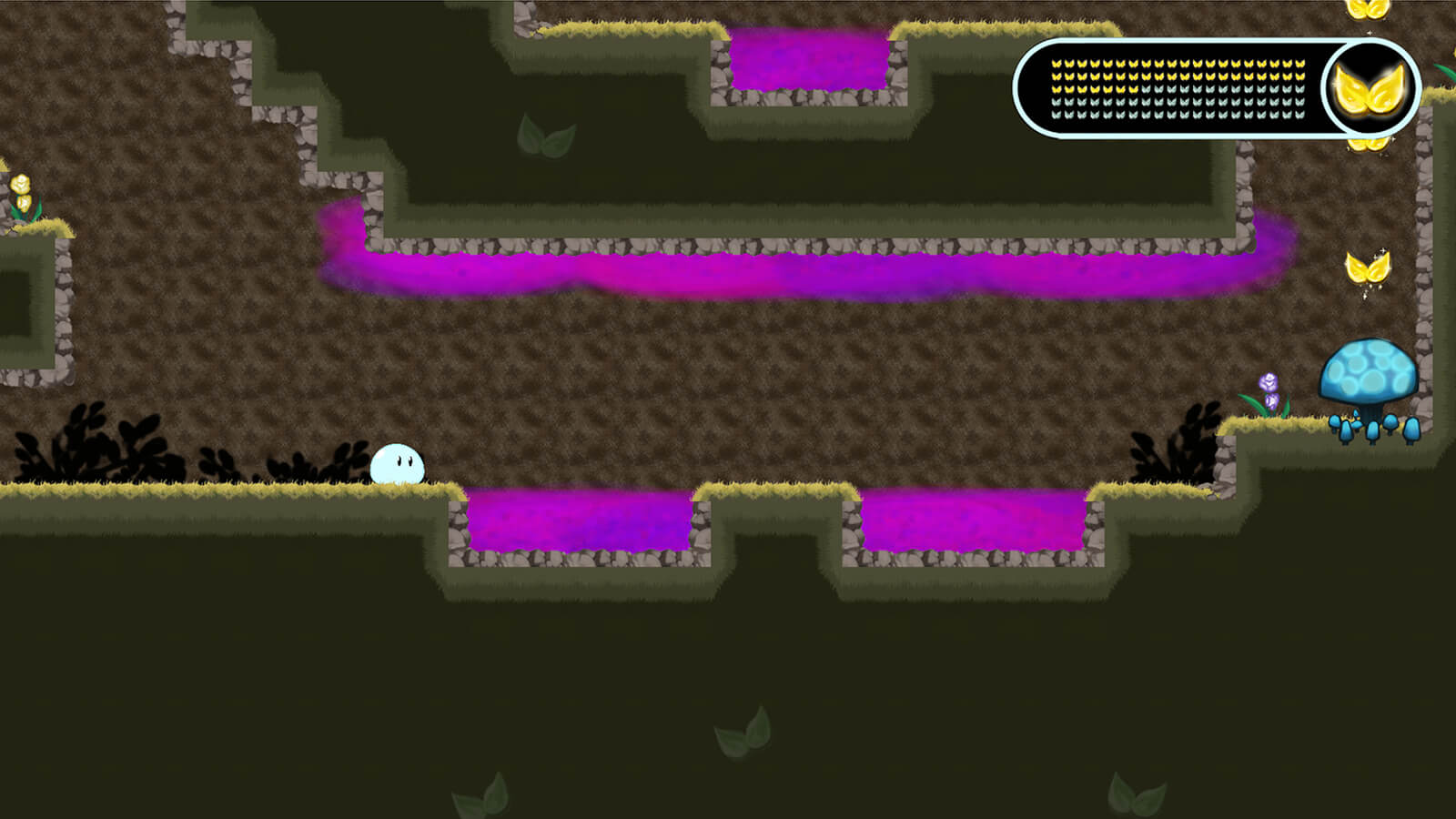 A round slime character in an underground tunnel, faced with pits of deadly pink goop on the floor and ceiling.