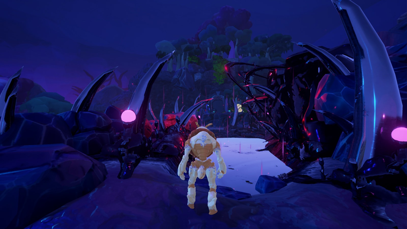 The game's alien hero stands amid a strange rock landscape with shiny, spiked growths emerging out of it.