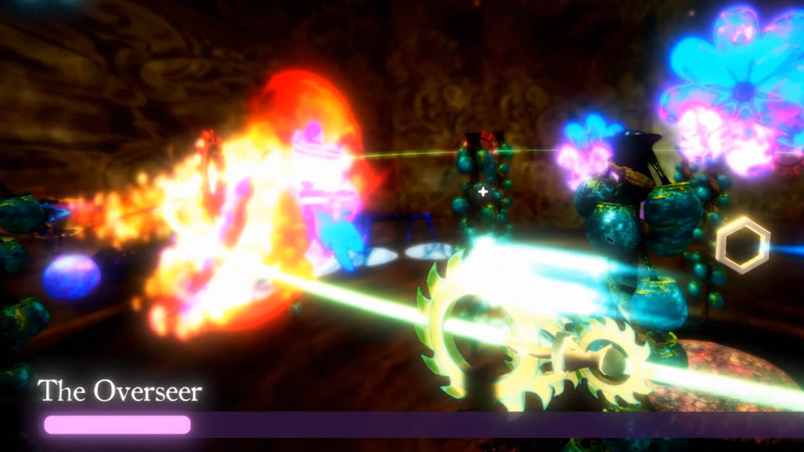 Two beams shoot towards a fiery explosion as Aftermoor protagonist Diti battles the game's final boss, The Oversser.