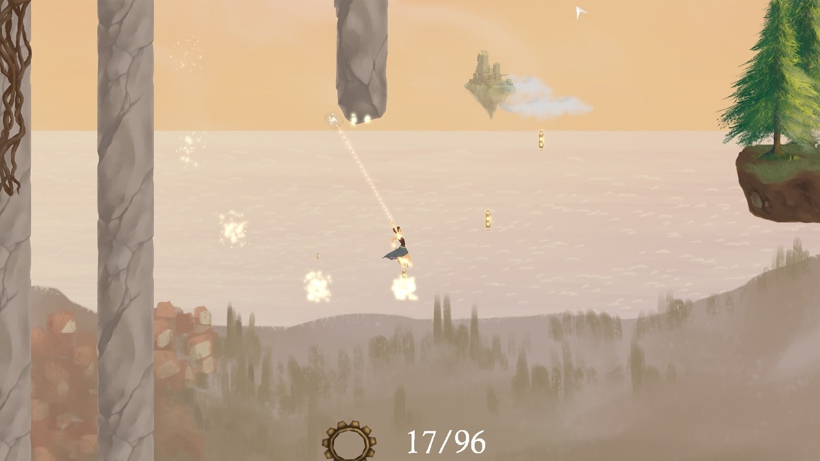Alatheia swings over storm clouds discharging lightning with her grappling hook.