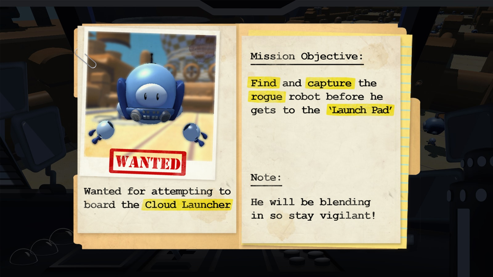 "A folder containing a paper-clipped photo of a blue robot with the word ""WANTED"" stamped in red below it."