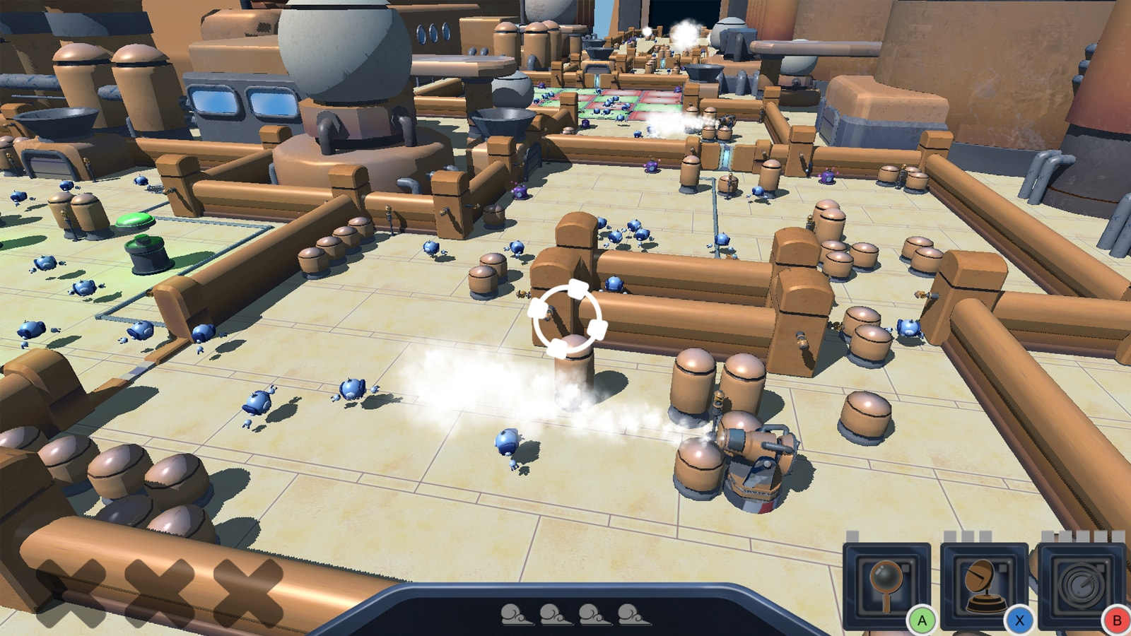 The airship floor covered in floating blue robot workers.