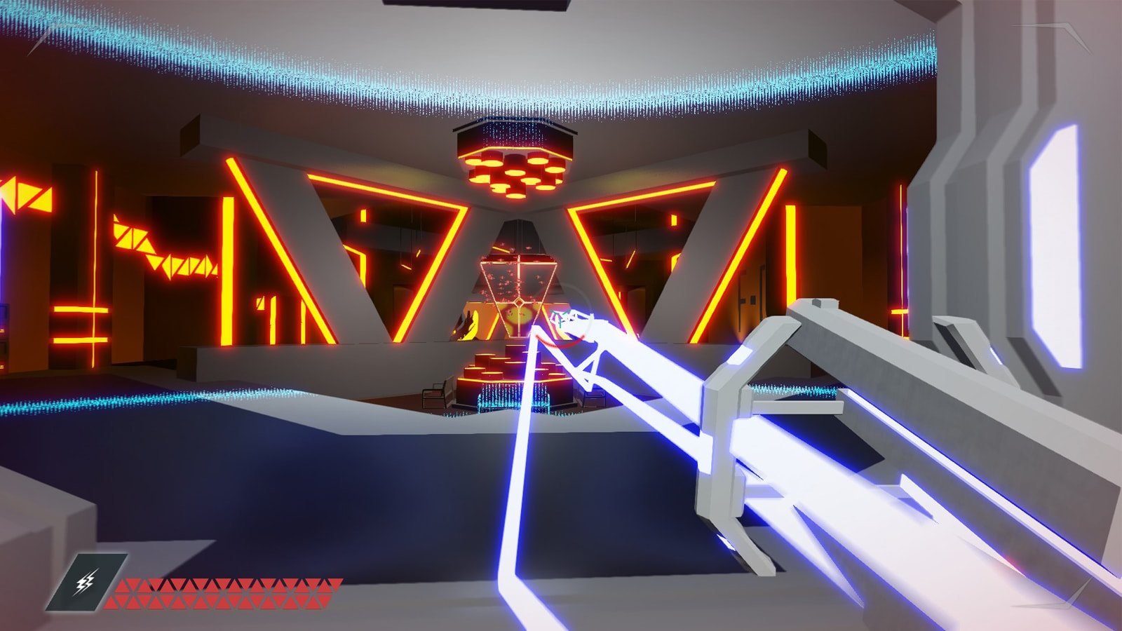 The player shoots a blue beam from their grey gun at a triangular opening in a futuristic interior.