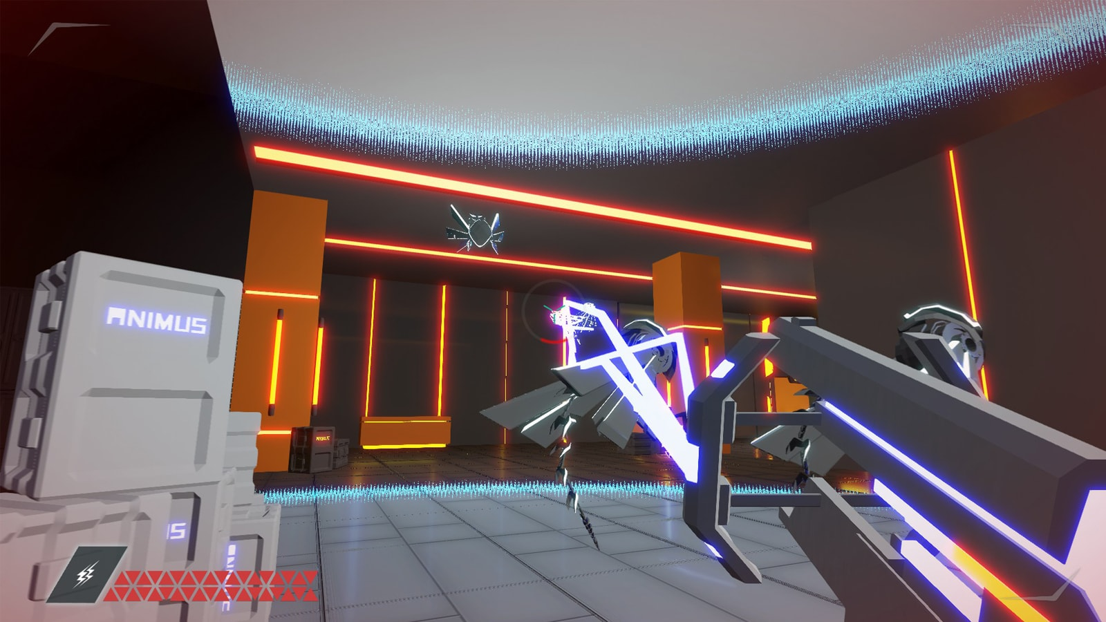 The player shoots a blue beam at a flying robot.