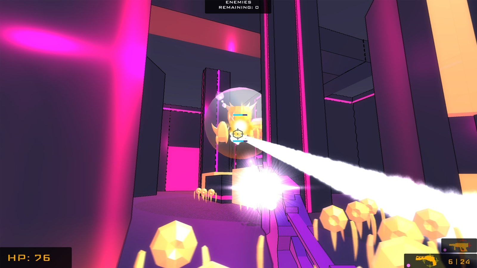 An anti-virus in a bubble shield shoots a glowing beam at the player, who fires back with a pink gun.