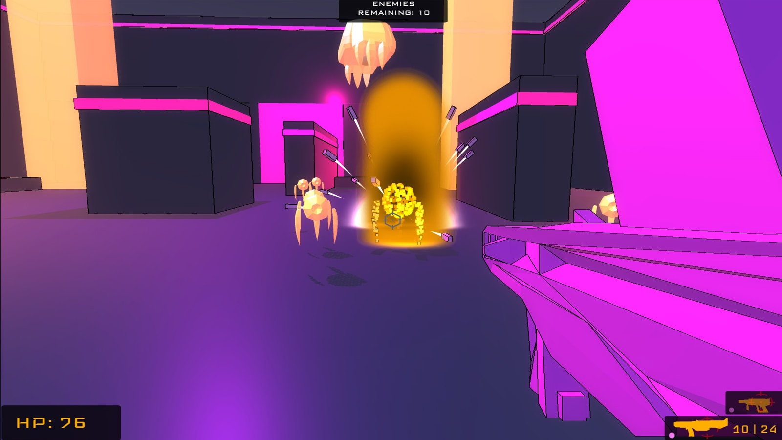 The player shoots a purple burst at an anti-virus, disintegrating it into small particles.
