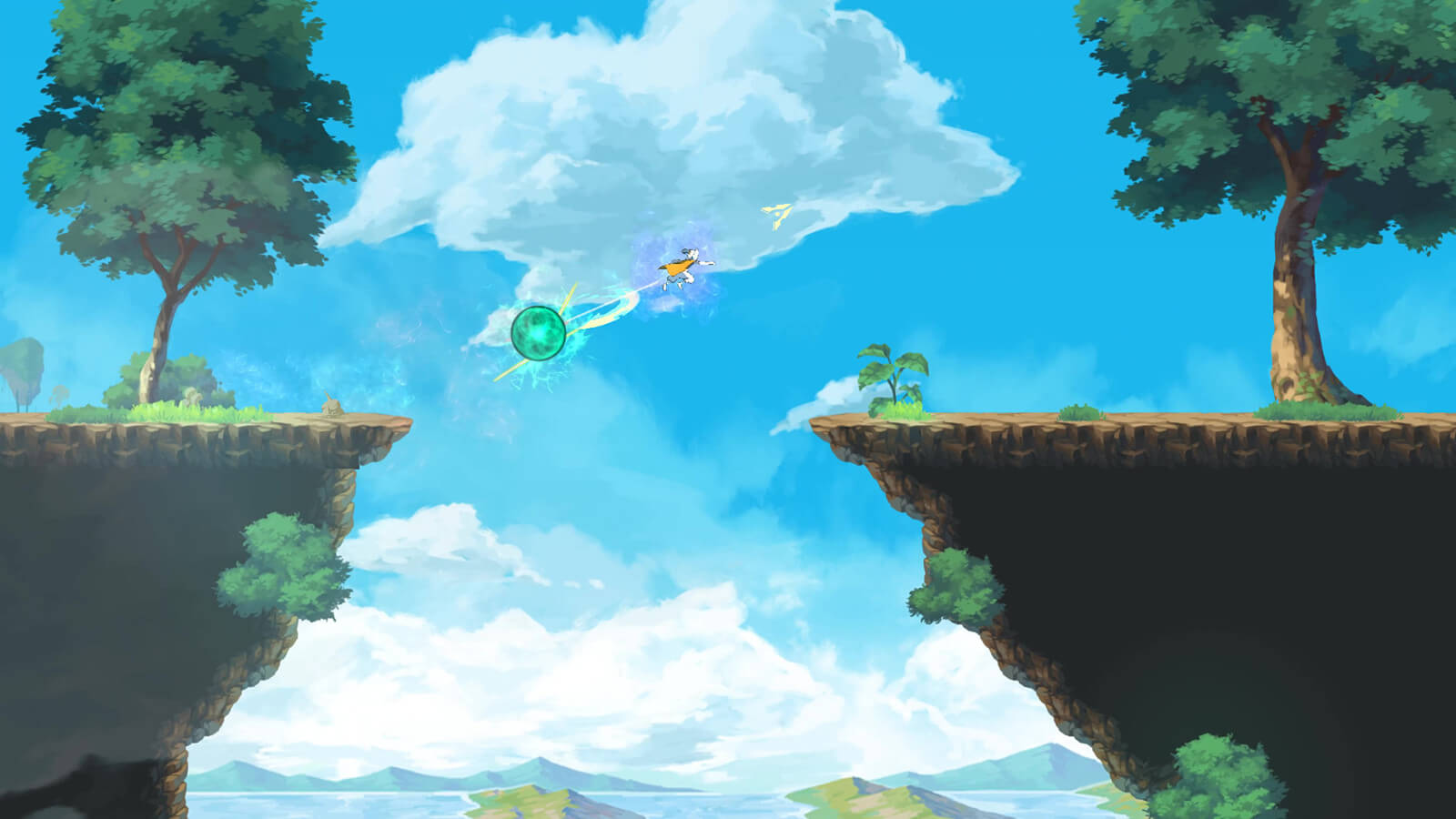 Character leaps over a chasm in the sky
