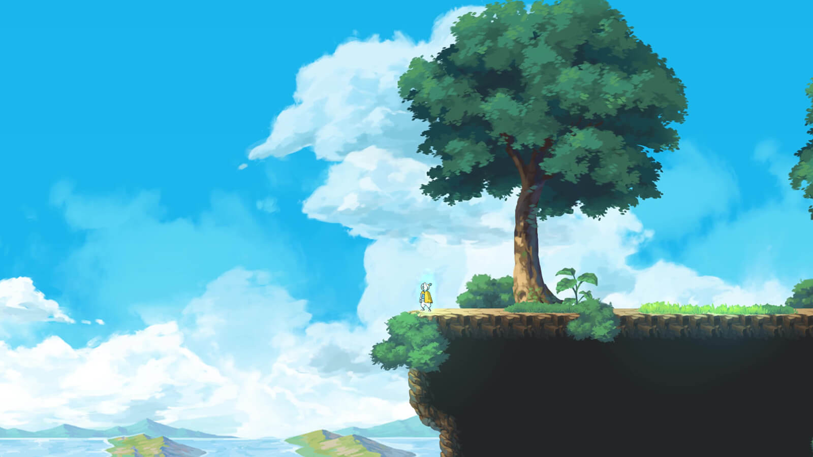 Player character stands at the edge of a cliff